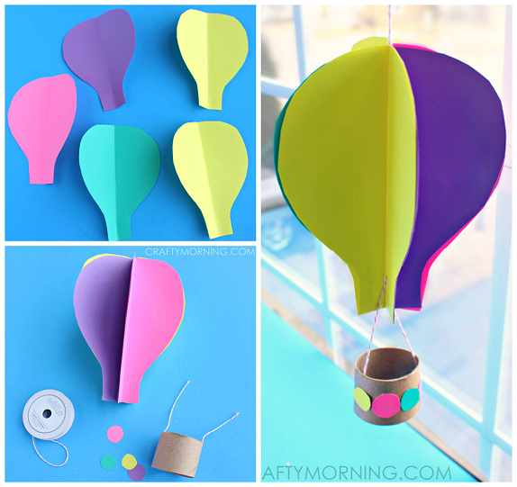 Colorful Construction Paper Spinning Hot Air Balloon Craft