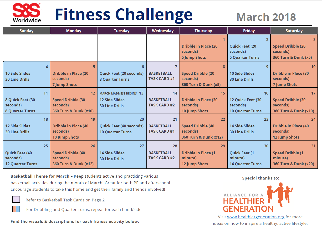 students are challenged each day to participate in the activities listed on the calendar for march kids can practice various basketball skills and warmups