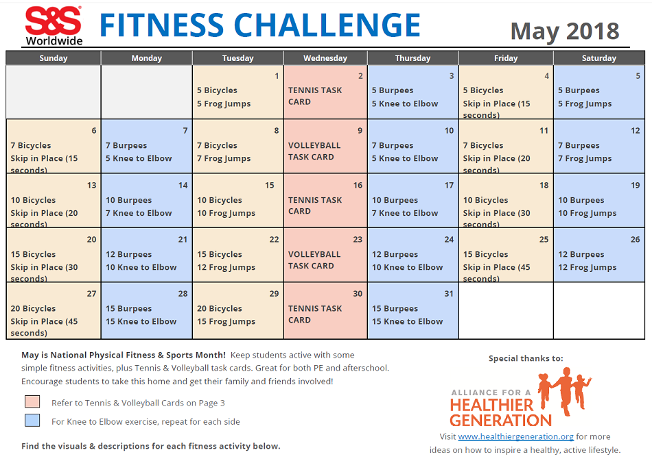 May Fitness Challenge Calendar