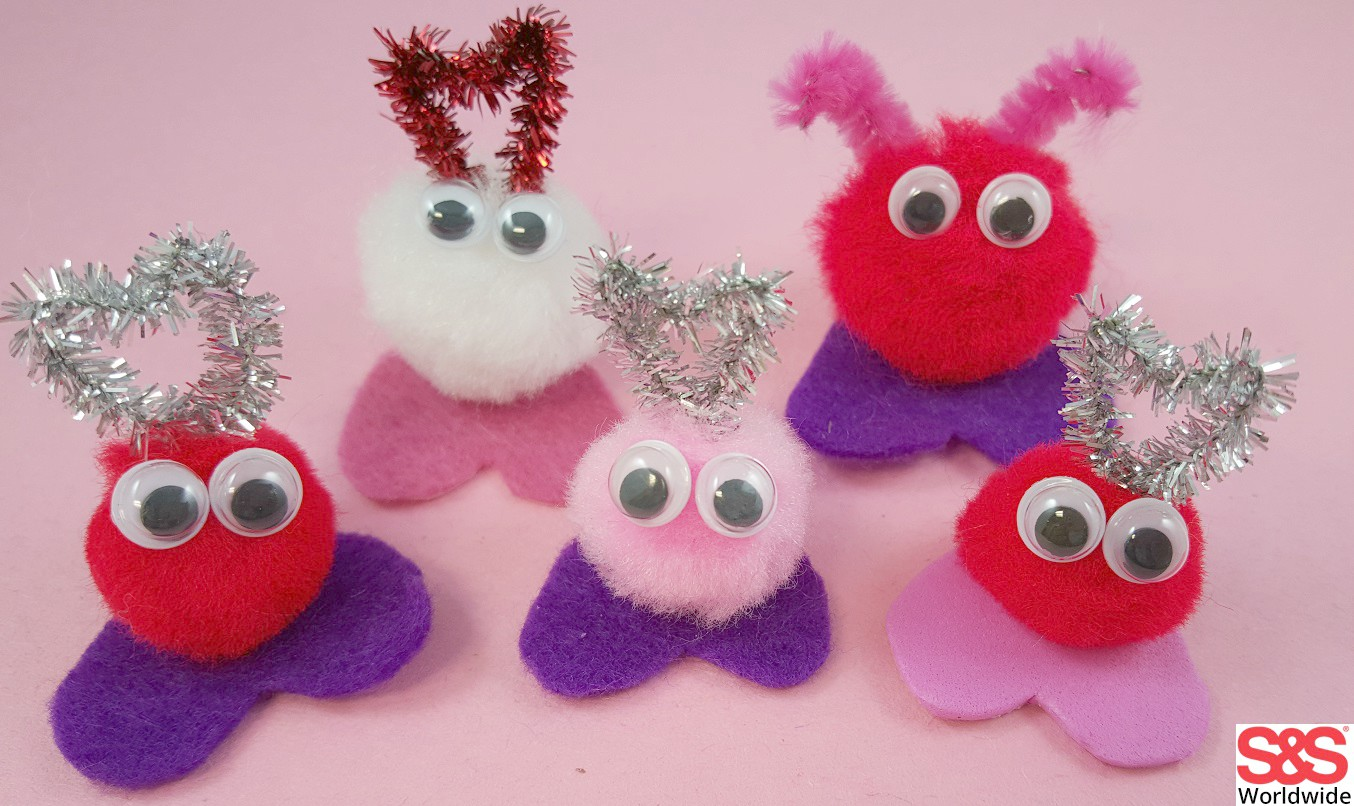 Valentine craft with pom poms s s blog for What to make with pom poms crafts