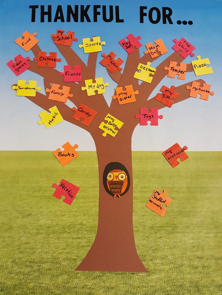 Thanksgiving puzzle tree craft