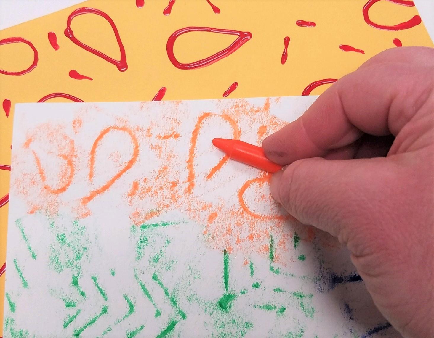Abstract Crayon Resist Rubbing Watercolor Activity