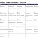 April Daily Holidays & Observances Printable Calendar
