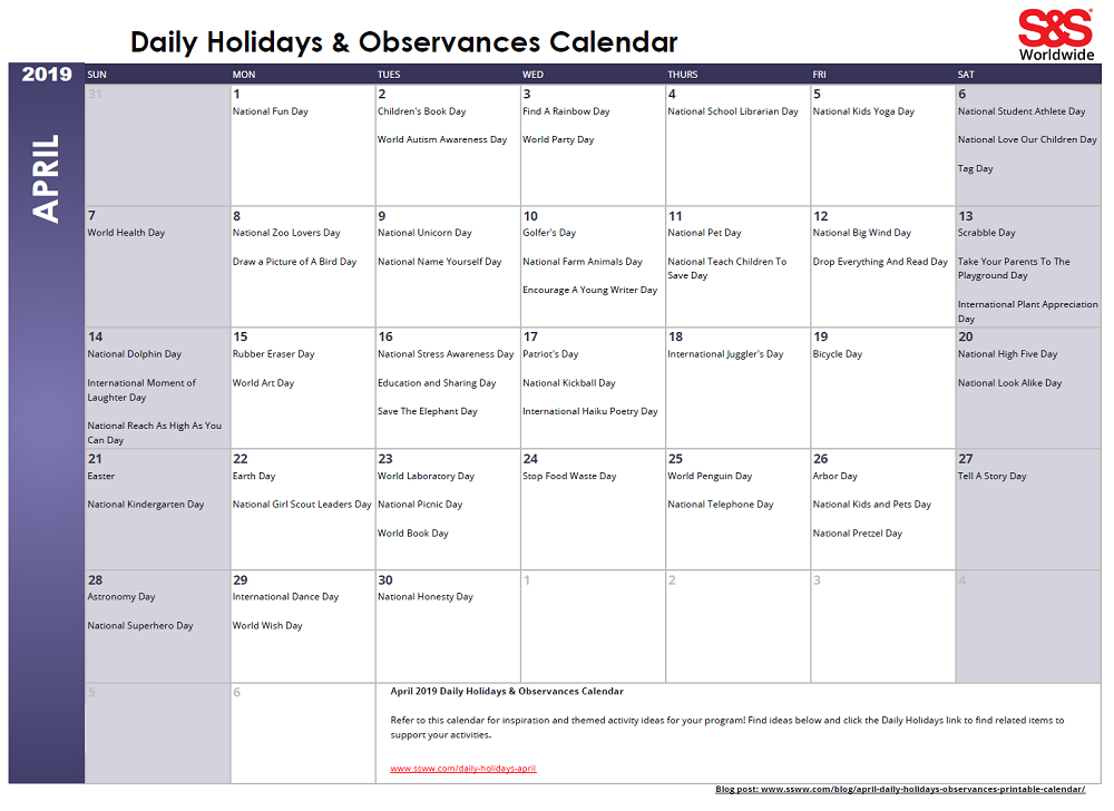 April Daily Holidays Observances Printable Calendar S S Blog