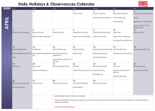April 2020 Printable Daily Holidays Calendar