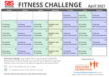 April Fitness Challenge Calendar 2021