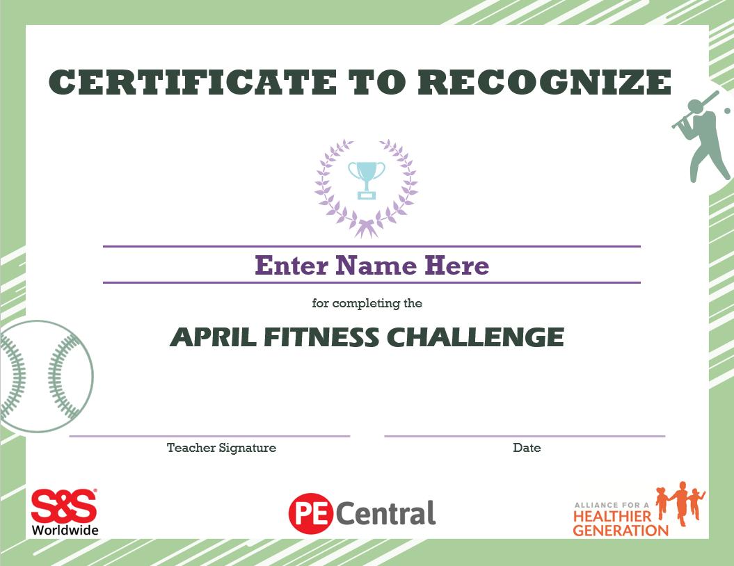 April Fitness Challenge Calendar Award 2021
