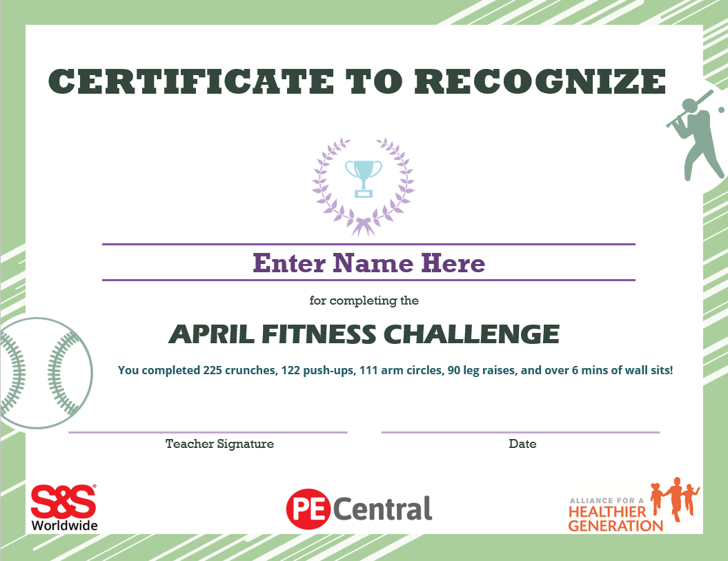 April Fitness Challenge Calendar Award