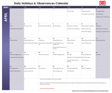 April Printable Daily Holidays Calendar 2021