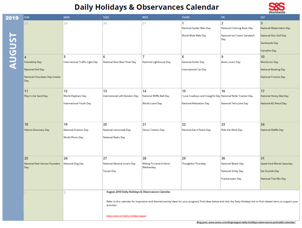 August 2019 Calendar With Holidays.August Daily Holidays Observances Printable Calendar S S Blog