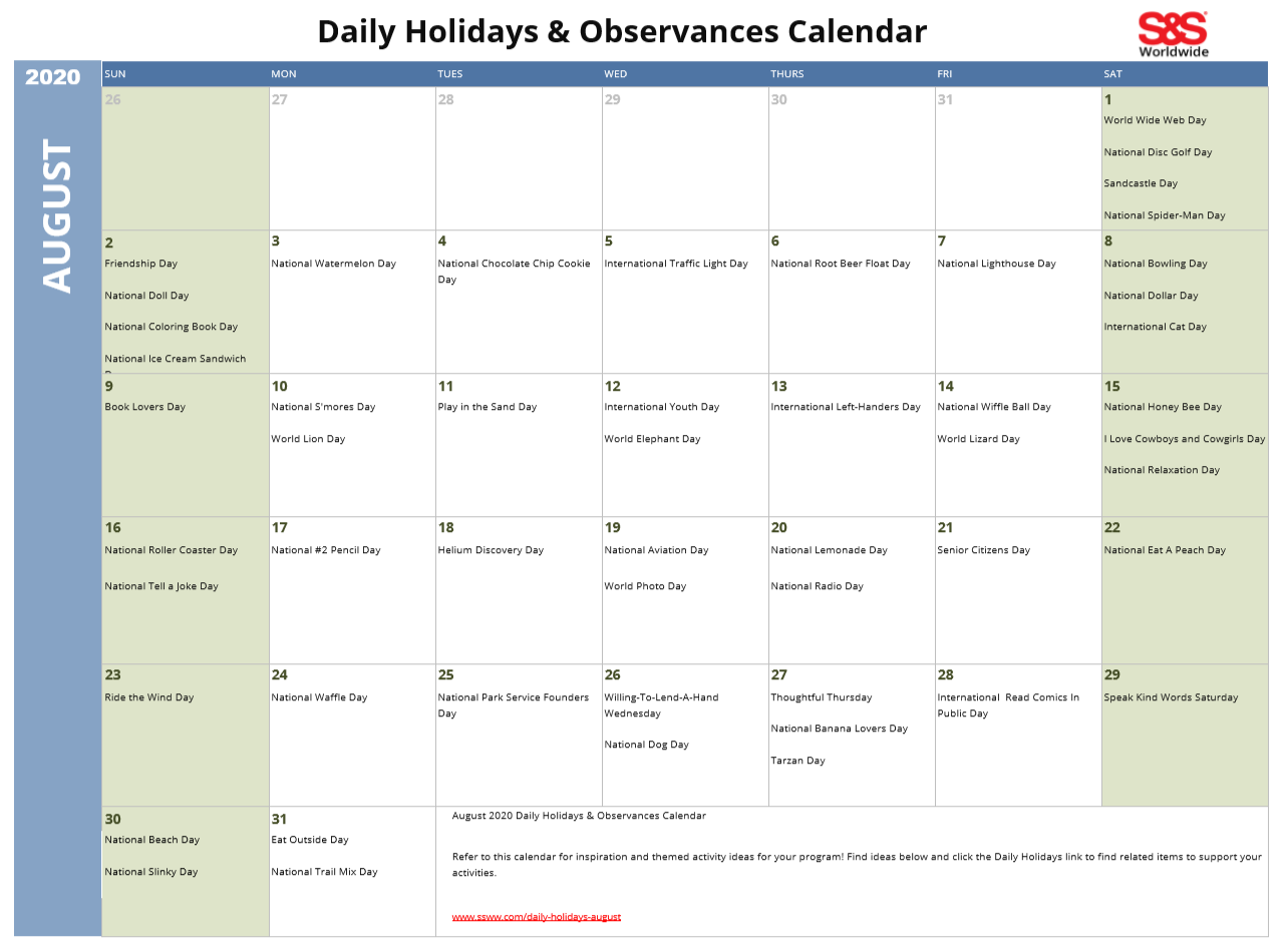 August 2020 Printable Daily Holidays Calendar
