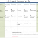 August Daily Holidays & Observances Printable Calendar