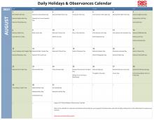 August 2021 Printable Daily Holidays Calendar