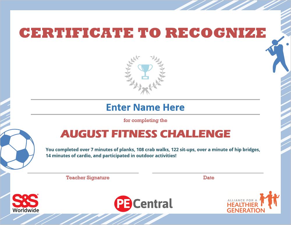 August Fitness Challenge Calendar Award
