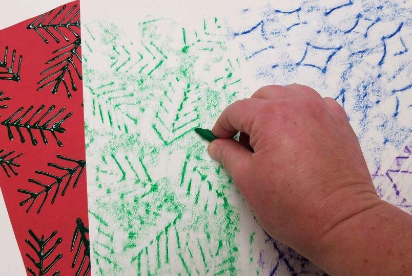 Colorful Crayon Resist Rubbing