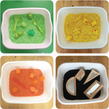 Colorful sensory bins