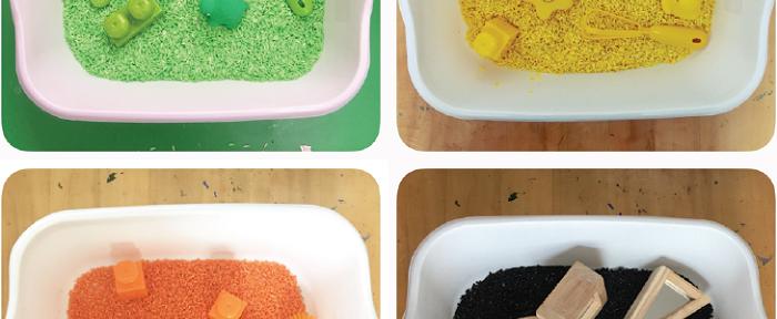 Colorful sensory bins