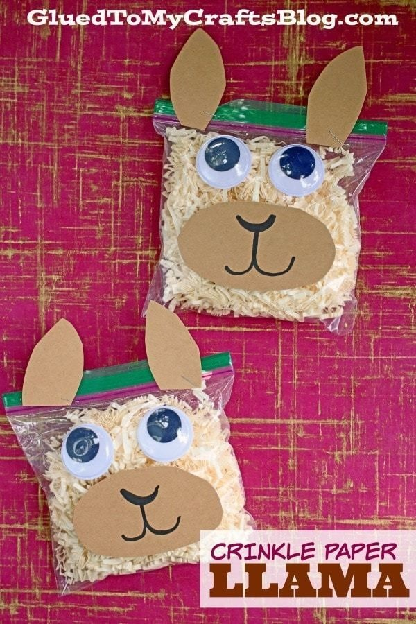 Crinkle Paper Llama - Glue To My Crafts Blog