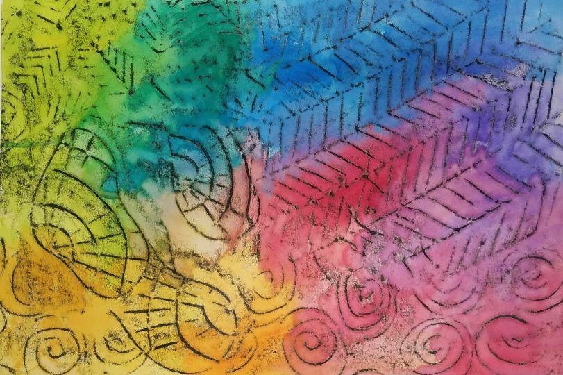 DIY Watercolor Black Crayon Resist Art Activity Finished