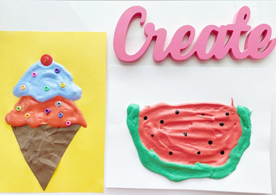 DIY ice cream watermelon paint crafts