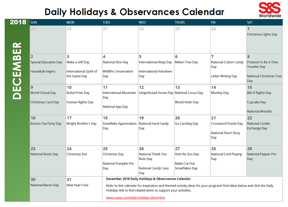 image regarding Printable December Calendar named December Day-to-day Vacations Observances Printable Calendar