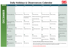 December 2019 Printable Daily Holidays Calendar