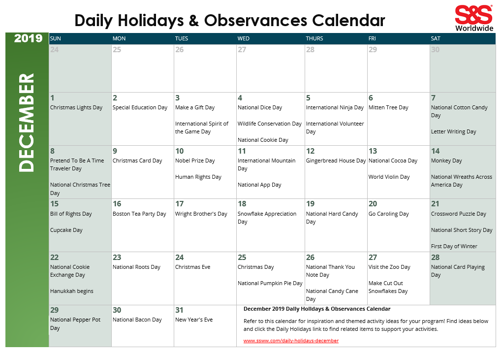 December 2019 Printable Daily Holidays Calendar