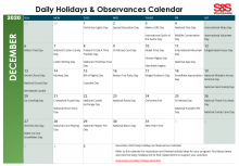 December 2020 Printable Daily Holidays Calendar