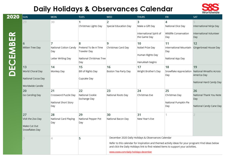 December 2020 Printable Daily Holidays Calendar