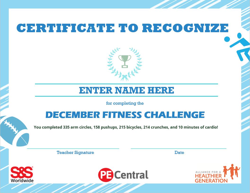 December Fitness Challenge Award