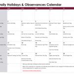 February Daily Holidays & Observances Printable Calendar