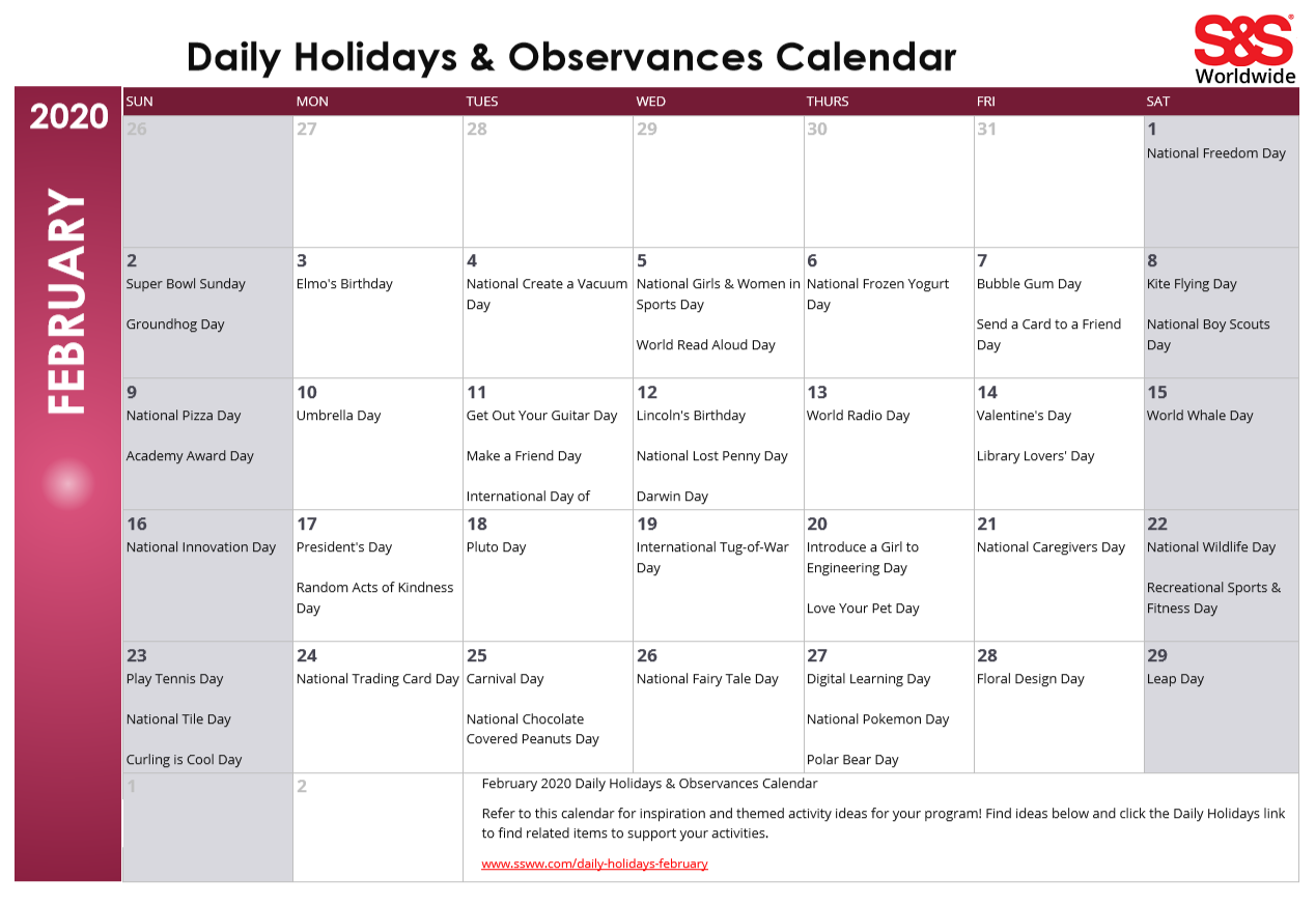 February 2020 Printable Daily Holidays Calendar