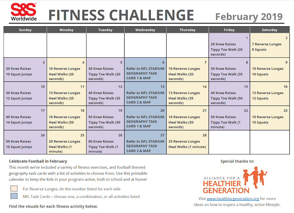image about Fitness Calendar Printable identified as February Printable Health and fitness Problem Calendar - SS Website