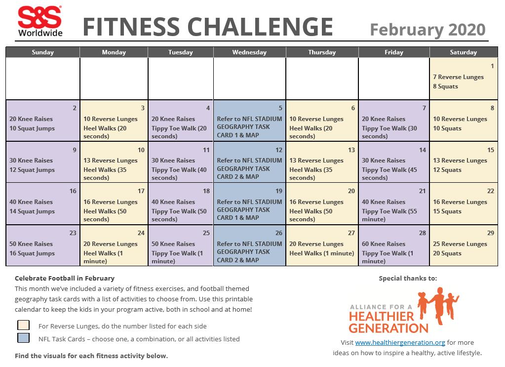 February Fitness Challenge Calendar 2020 1