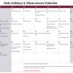 February Daily Holidays & Observances Printable Calendar