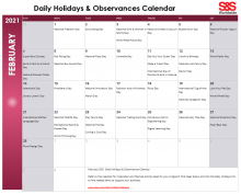 February Printable Daily Holidays Calendar 2021