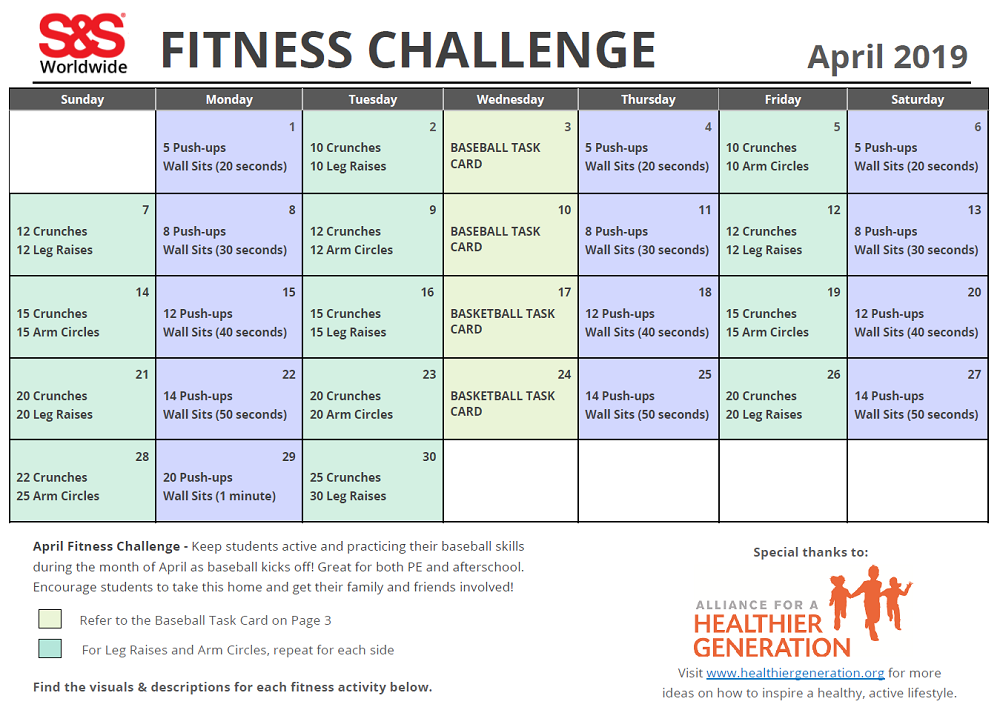 photograph regarding Printable Workout Calendar referred to as April Printable Physical fitness Problem Calendar - SS Weblog