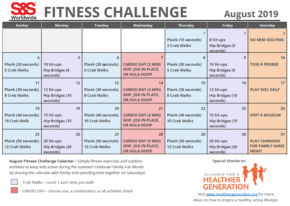 photo regarding Fitness Calendar Printable named August Printable Exercise Difficulty Calendar - SS Web site