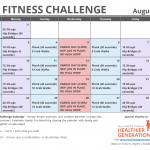 August Printable Fitness Challenge Calendar