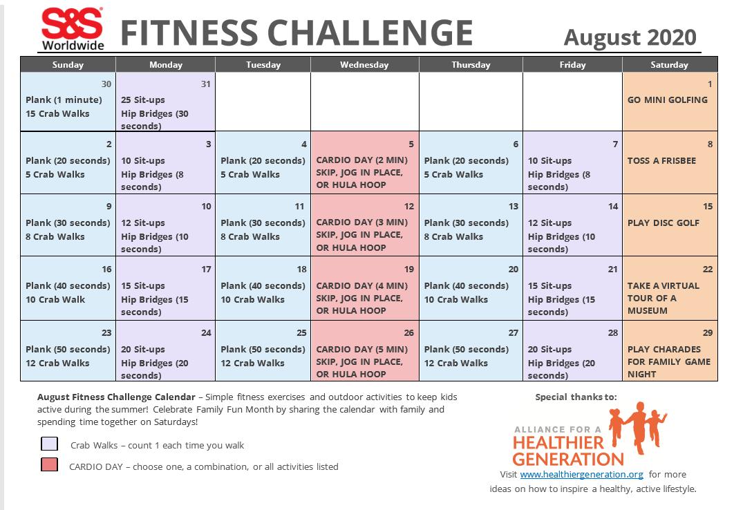 Fitness Challenge Calendar August 2020