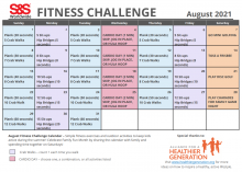 Fitness Challenge Calendar August 2021