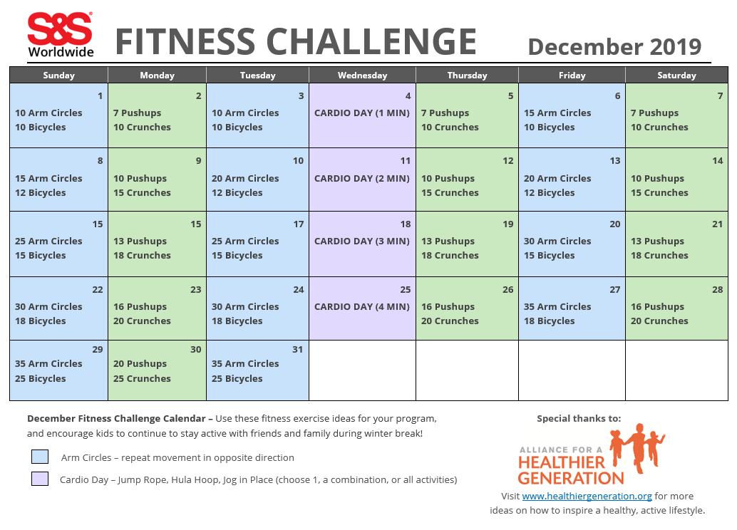 Fitness Challenge Calendar December 2019