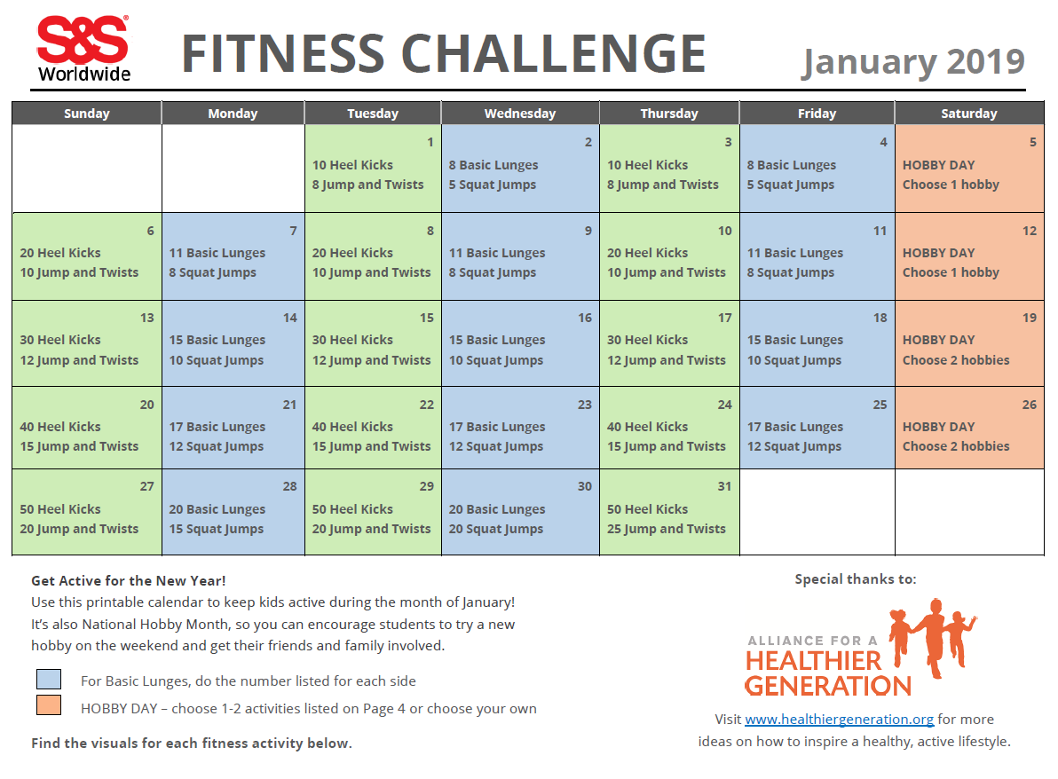 image relating to Printable Workout Schedule identify January Printable Health and fitness Trouble Calendar - SS Web site