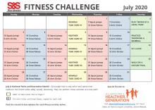 Fitness Challenge Calendar July 2020
