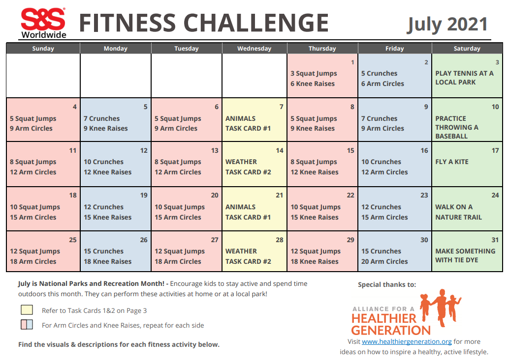 Fitness Challenge Calendar July 2021