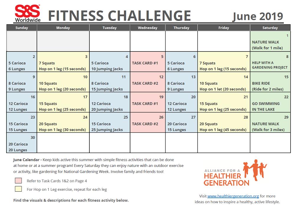 Fitness Challenge Calendar June 2019