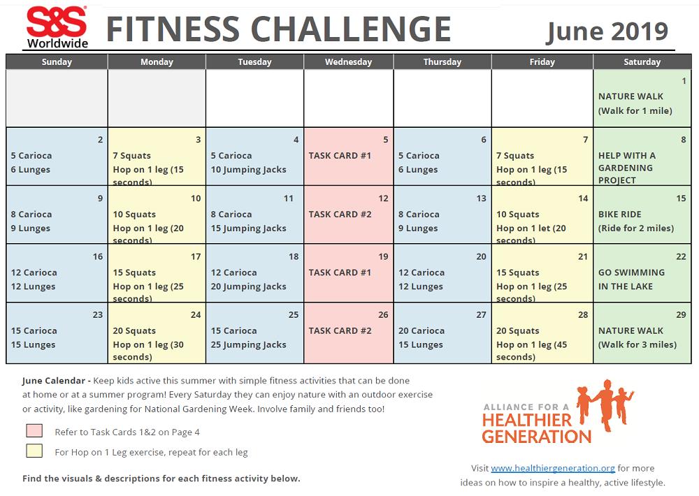 Fitness Challenge Calendar June 2019 - S&S Blog