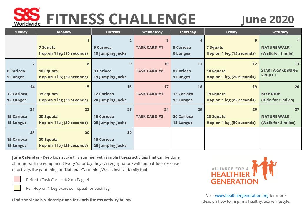 Fitness Challenge Calendar June 2020