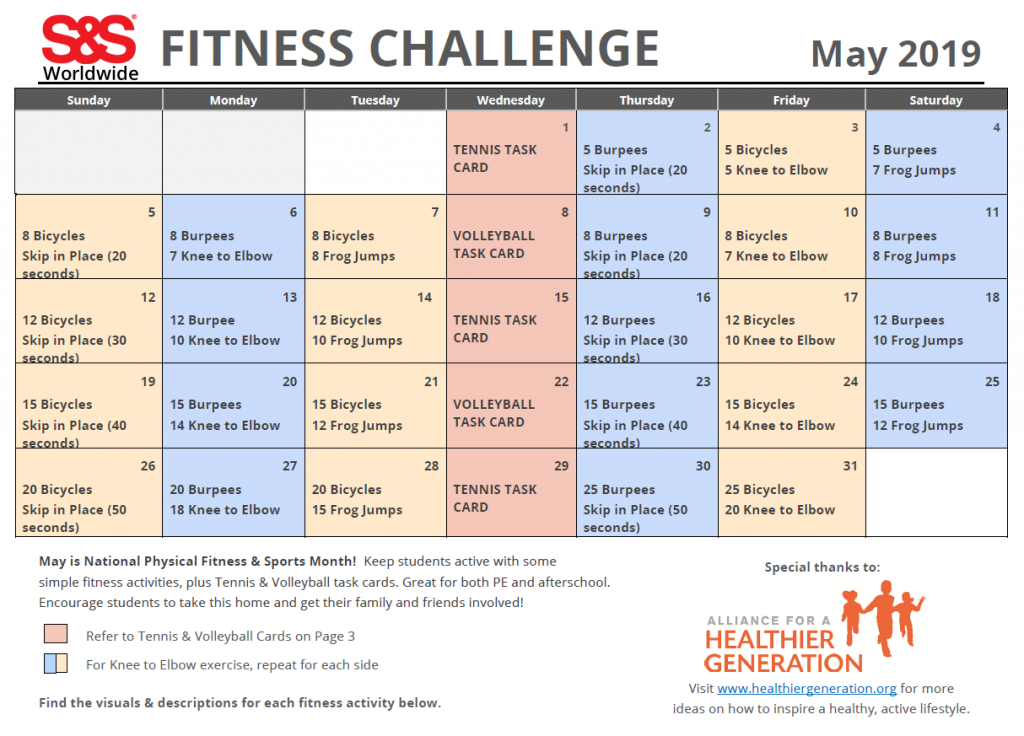 Fitness Challenge Calendar May 2019
