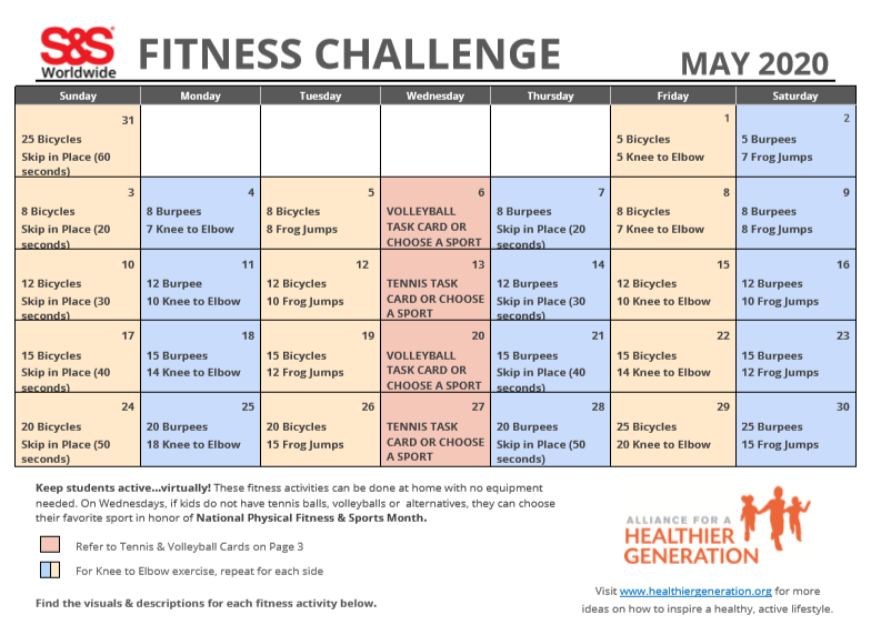 Fitness Challenge Calendar May 2020